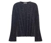 Pullover aus Einer Gerippten Merinowollmischung in Metallic-optik