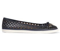 Skyler Perforated Leather Ballet Flats Navy