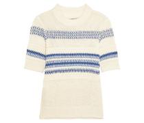 Striped Open-knit Linen And Cotton-blend Sweater Elfenbein