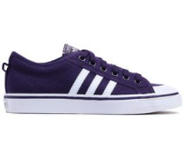 Nizza Leather-trimmed Canvas Sneakers Plum