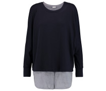 Layered Jersey And Cotton-blend Chambray Top Navy
