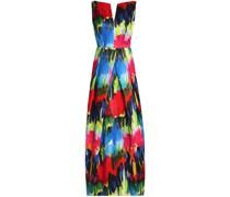 Marilia Open-back Printed Cotton-blend Gown
