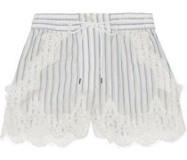 Lace-trimmed striped shell shorts