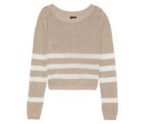 Striped open-knit cotton-blend sweater