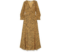 Tie-front Leopard-print Silk-crepe Maxi Shirt Dress