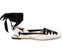 Lace-up Canvas Point-toe Flats
