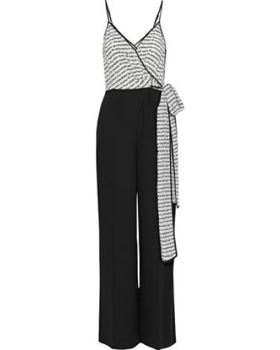 Barry Printed Silk And Crepe Wrap Jumpsuit Black Size 00