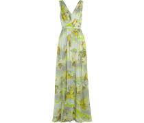 Printed Silk-chiffon Gown Zitronengelb