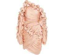 Minikleid aus Seidensatin mit Asymmetrischer Schulterpartie und Rüschen