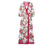 Lena Tassel-trimmed Floral-print Cotton-voile Maxi Wrap Dress