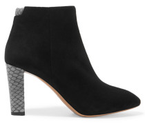 Alba Snake-effect Trimmed Suede Boots Schwarz