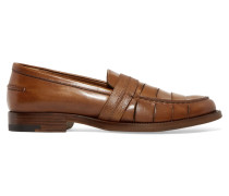 Slit-front Leather Loafers Braun