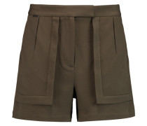 Stretch-crepe Shorts Armeegrün