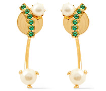 24-karat -plated, Freshwater Pearl And Siamite Earrings