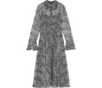 Ruffle-trimmed Printed Georgette Midi Dress