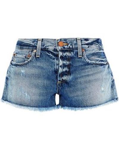 Distressed Denim Shorts Mid Denim  6