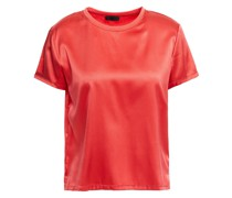 T-shirt aus Satin aus Stretch-seide