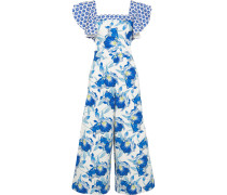 Marybell Ruffled Printed Stretch-cotton Jumpsuit Blau
