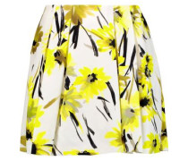 Connor pleated printed cotton and silk-blend mini skirt