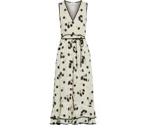 Tiered Printed Crepe Midi Dress