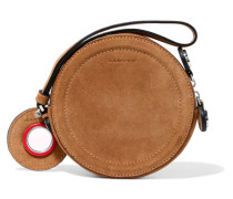 Eyelet-embellished Suede Pouch Braun
