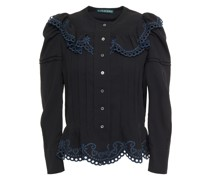 Broderie Anglaise-trimmed Crepe Shirt