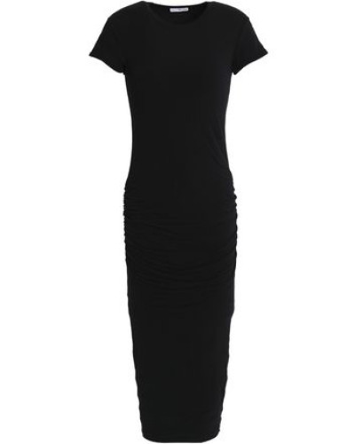 Ruched Cotton-blend Stretch-jersey Midi Dress Black Size 0