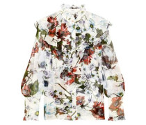Kelsey ruffled floral-print silk-voile blouse