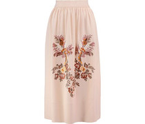 Lucy embroidered crepe  midi skirt