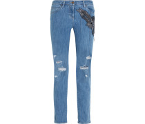 Distressed Embellished Silk-appliquéd Mid-rise Straight-leg Jeans Mittelblauer Denim