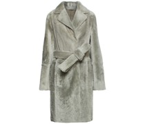 Doppelreihiger Mantel aus Shearling mit Gürtel