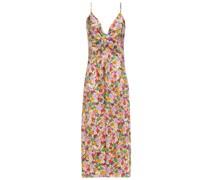 Flora Slip Dress in Midilänge aus Seiden-twill mit Floralem Print und Twist-detail