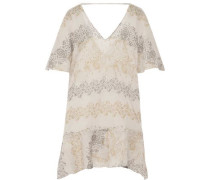 Angel asymmetric printed cotton-broadcloth coverup