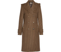 Double-breasted Houndstooth Wool Coat Camel
