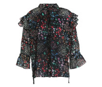 Ruffle-trimmed floral-print chiffon blouse