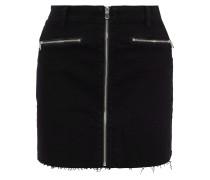 Moto Zip-detailed Denim Mini Skirt