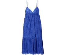 Gathered Cotton-blend Leavers Lace Midi Slip Dress