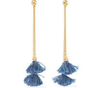 Gold-plated Tassel Earrings Mittelblauer Denim