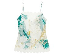 Lace-trimmed Floral-print Silk-voile Camisole