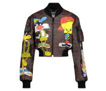 Cropped Printed Faux Leather Jacket Mehrfarbig