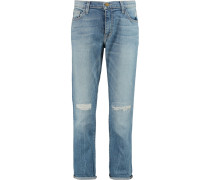 The Fling Distressed Mid-rise Boyfriend Jeans Heller Denim