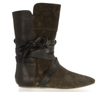 Nira Suede And Leather Ankle Boots Armeegrün