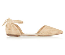 Woven Straw Point-toe Flats Beige
