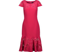 Fluted embroidered lace-paneled cady dress