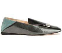Sr1 Verzierte Loafers aus Craquelé-lackleder und Veloursleder mit Einklappbarer Fersenpartie