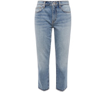 The Turnt Fling Cropped Spiked Mid-rise Slim-leg Jeans