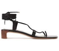 Woman Lace-up Leather Sandals Black