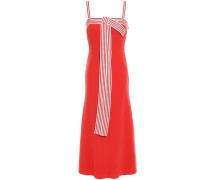 Bow-embellished Striped Stretch-cady Midi Dress