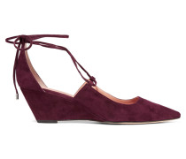 Wynne Lace-up Suede Pumps Burgunder