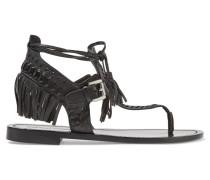 Alysa Fringed Leather Sandals Schwarz